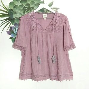 Knox Rose Mauve Boho Lace Trim Tassel Top Blouse